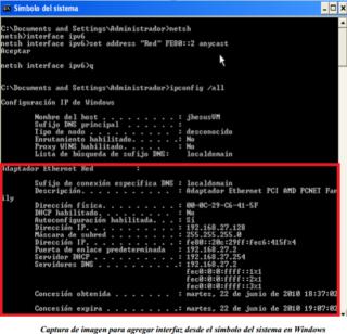 Add interface ipv6 windows console