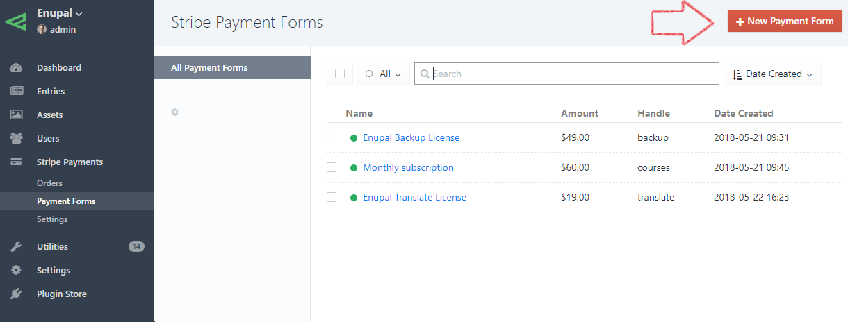 New Stripe Payment Form