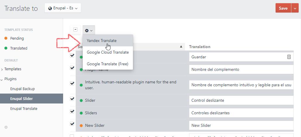 Select target translations