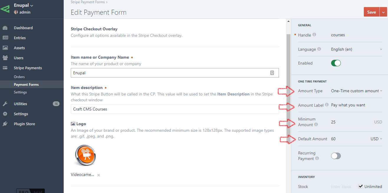 One-Time custom amount Settings