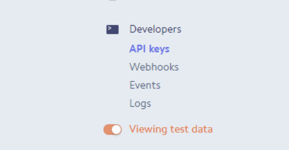 Developer -> Api Keys (Stripe.com)