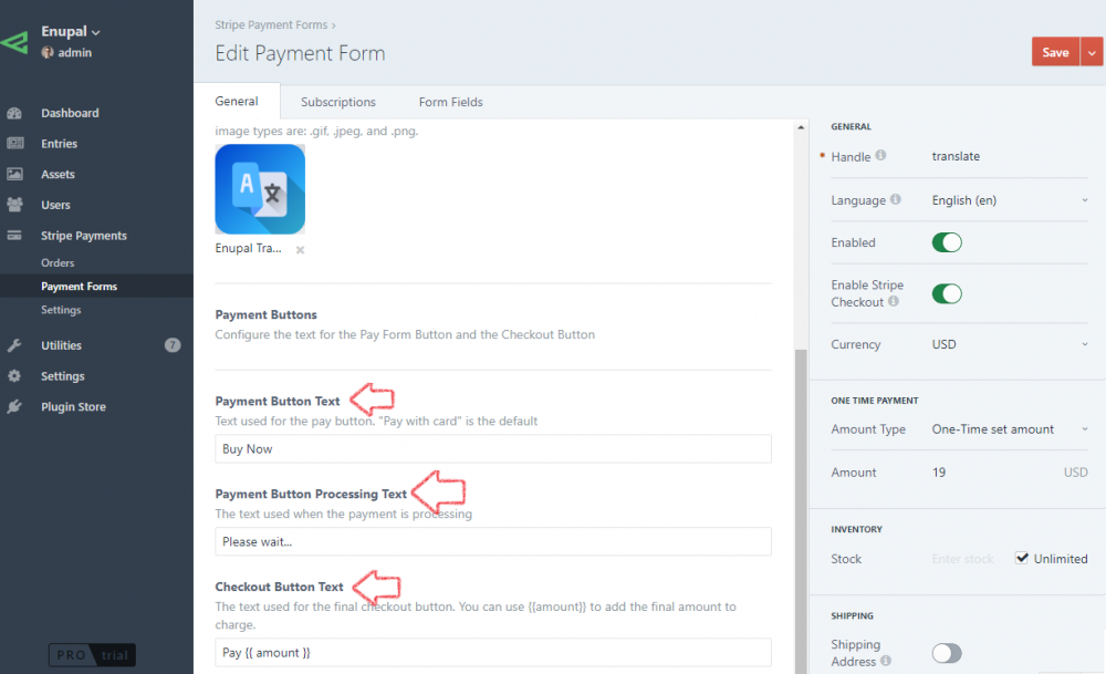 One-Time Payment Form - Stripe Payments Plugin Docs - Craft CMS