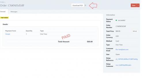 Download Order PDF button