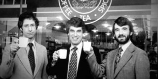The three founders of Starbucks: Zev Siegl, Jerry Baldwin and Gordon Bowker